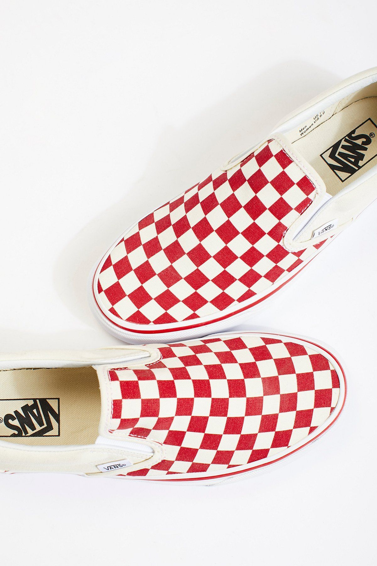 50a3f2c076 Vans Racing Red Classic Checkered Slip On at Free People Clothing Boutique