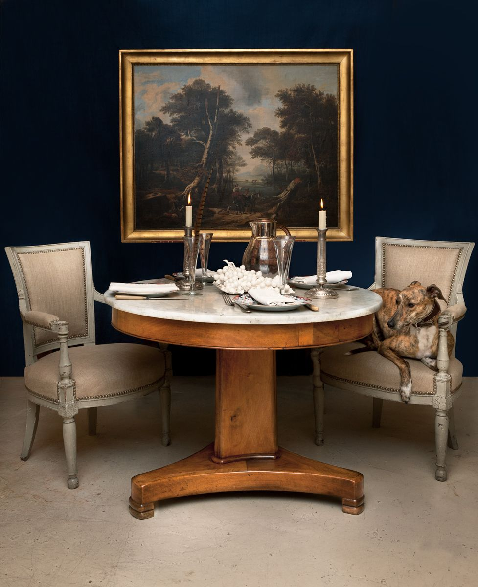 pretty 19th century round french table with painted 18th century