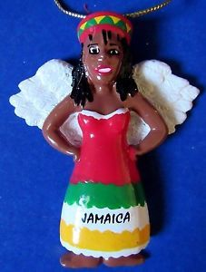 Jamaica Christmas Ornament Angel African Black Jamaican Red Green Yellow Holiday In Collectibles Holiday Seasonal Christmas Current 1991 Now