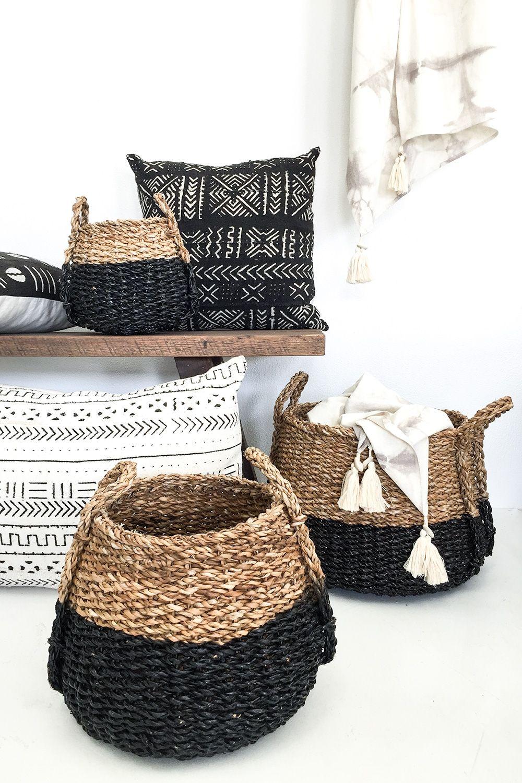 Black Dipped Seagrass Pod Set Mand Decoratie Thuisdecoratie Rieten Manden