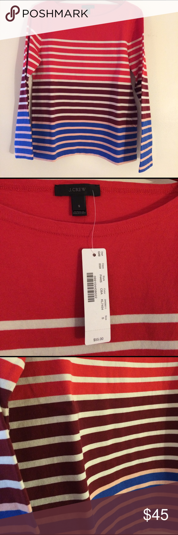 NWT J. Crew 3/4 Sleeve Striped T-Shirt New with tags J. Crew 3/4 sleeve shirt. Purchased without trying on because I loved the color and small was the only size left, but it does not fit me. I need a medium or even large usually in J.Crew shirts. J. Crew Tops Tees - Long Sleeve