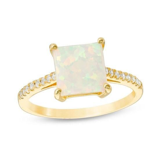 Zales 8.0mm Heart-Shaped Lab-Created Opal Solitaire Ring in 10K Gold YEyCcqADCp