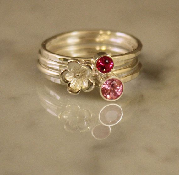 Stacking Rings Ruby and Pink Tourmaline with a by sherisdesigns, $110.00