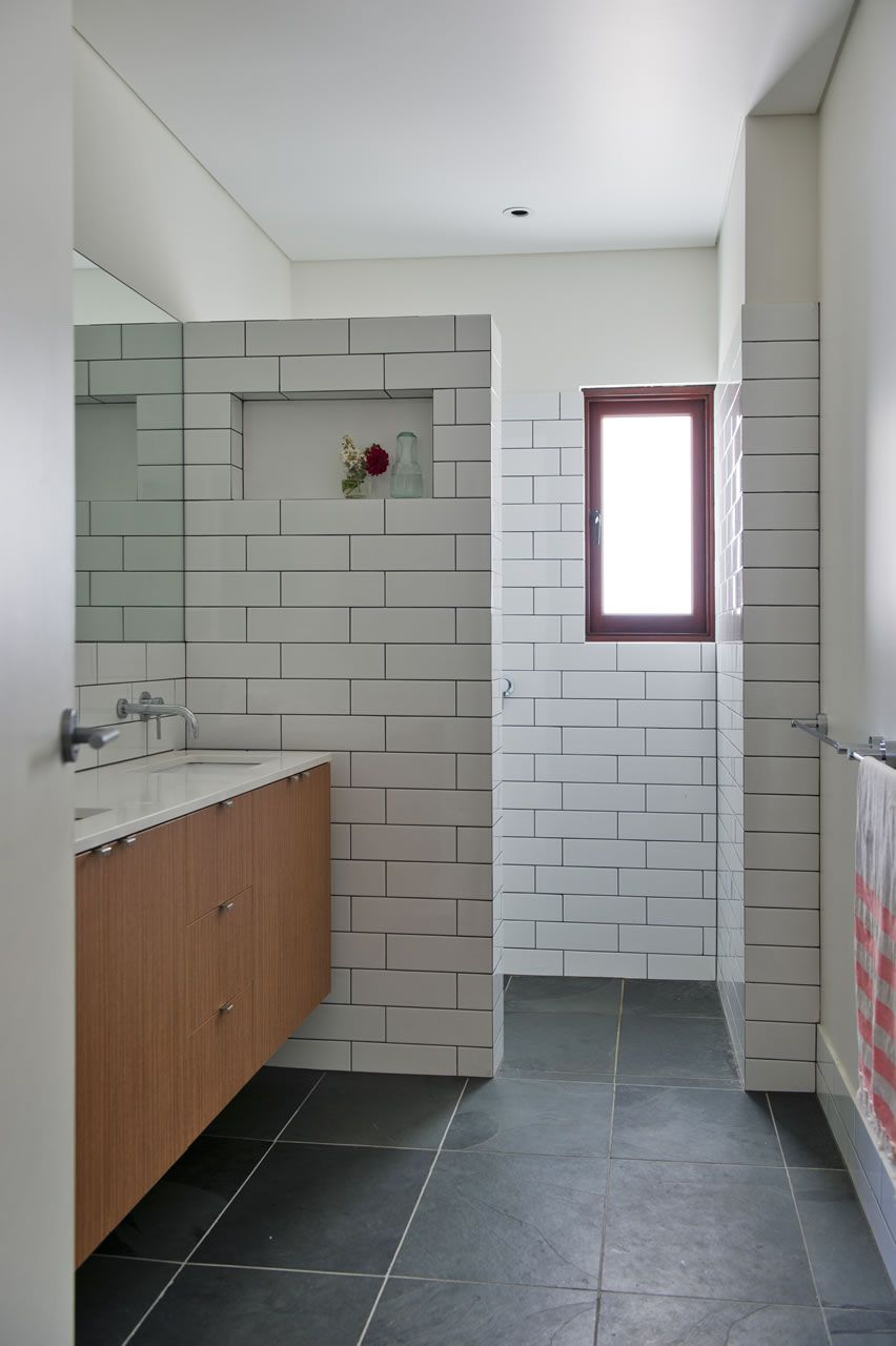 Charcoal Floor Long White Subway Tiles Dark Grout Floating - How long does it take to tile a bathroom