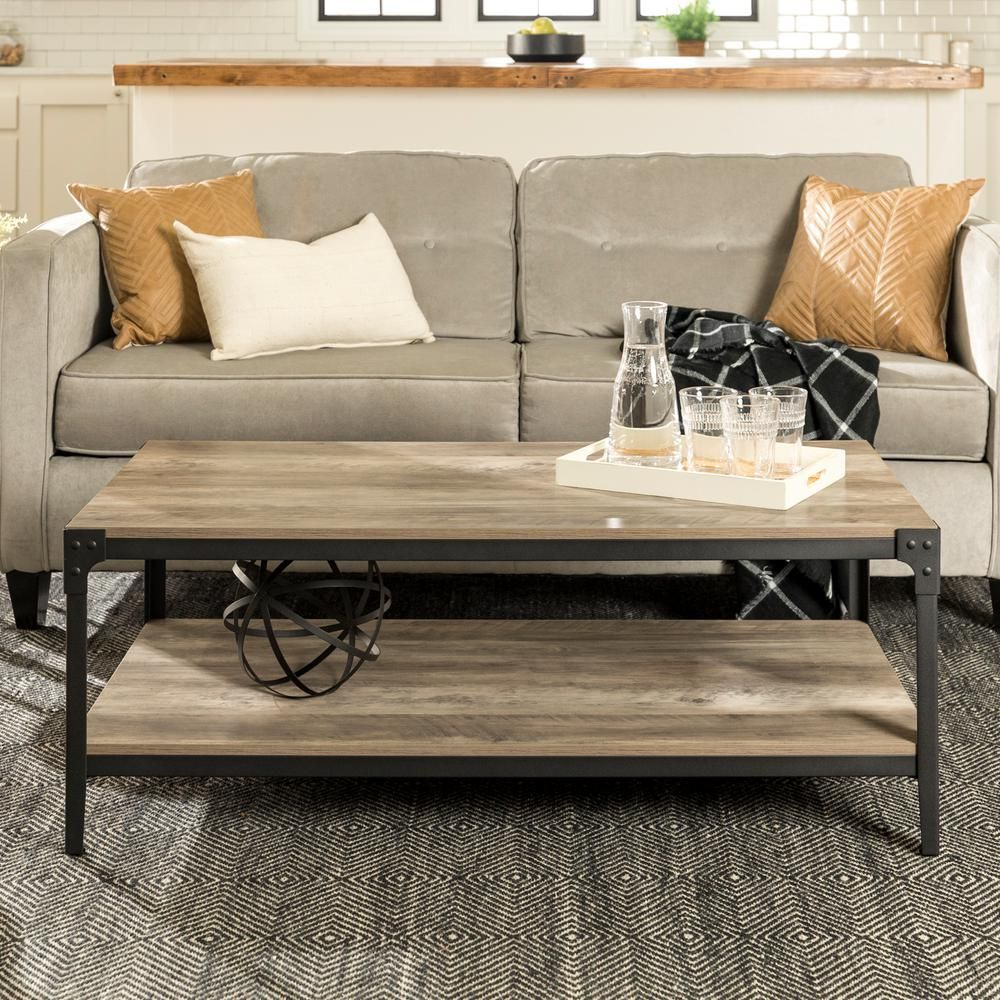 Walker Edison Furniture Company Angle 48 In Gray Wash Large Rectangle Mdf Coffee Table With Shelf Hd46aictgw The Home Depot Coffee Table Wood Coffee Table Design Wood Coffee Table Rustic [ 1000 x 1000 Pixel ]