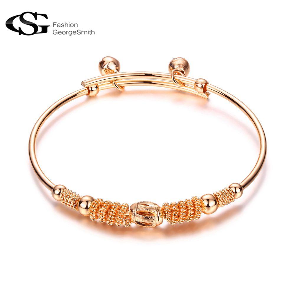 Gs rose gold color vintage bangles jonc bracelet pulseiras ladies