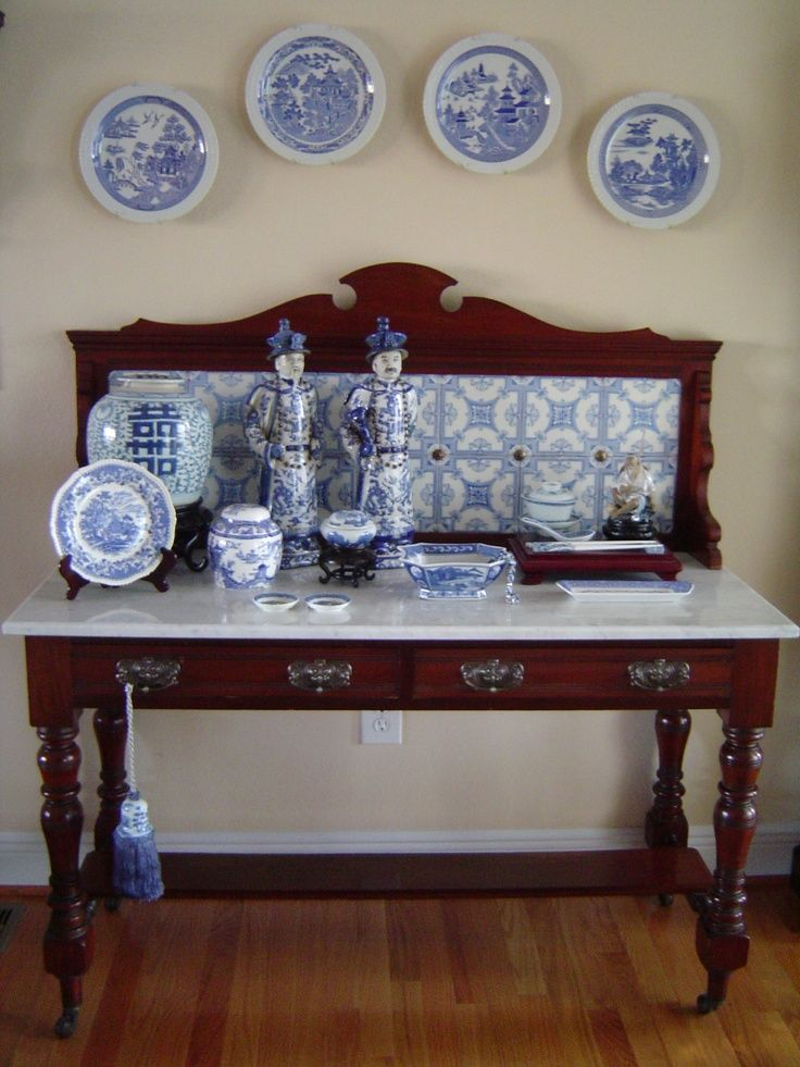 Antique English Washstand with blue and white