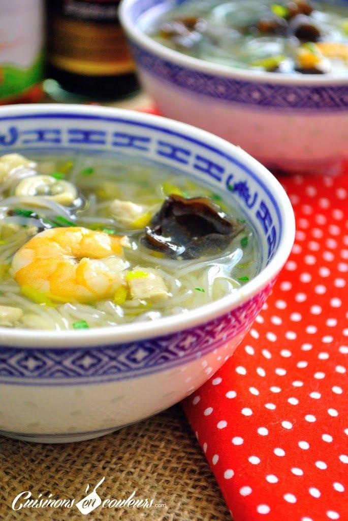 soupe chinoise poissons crevettes vermicelles et plein. Black Bedroom Furniture Sets. Home Design Ideas