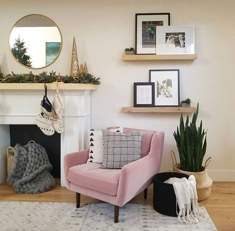 Pin By Kodee Wilson On Home Wall Decor Living Room Pink Chair Living Room Decor