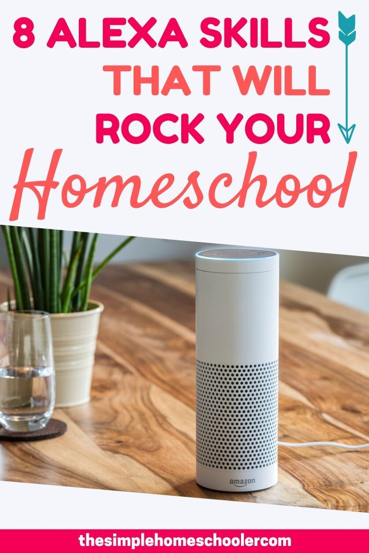 Wondering how to use Amazon Alexa Skills for your homeschool? Your kids will love all the fun games Alexa has to offer! You will love that it is educational and screen free! Be sure to download the free printable so you can remember all of them! #alexahomeschool #alexahomeschoolthekids #homeschool #screenfree #learning