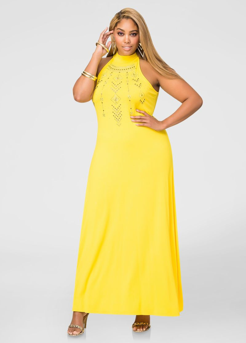 Tribal Stud Mock Neck Maxi Dress Plus Size Dresses Ashley Stewart 010 Bd1861 2 Dresses Maxi Dress Plus Size Maxi Dresses [ 1115 x 800 Pixel ]