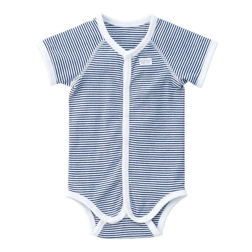little sevi: Japanese Baby Apparel: Akachan No Shiro: Striped Onesie - Navy