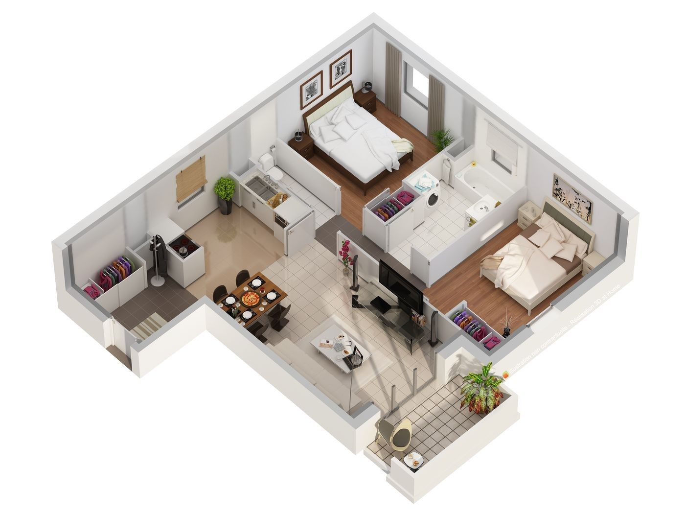 Aménagement Appartement 80m2 Plan 3d Appartement Plans 3d En 2019 Planos Casas Una