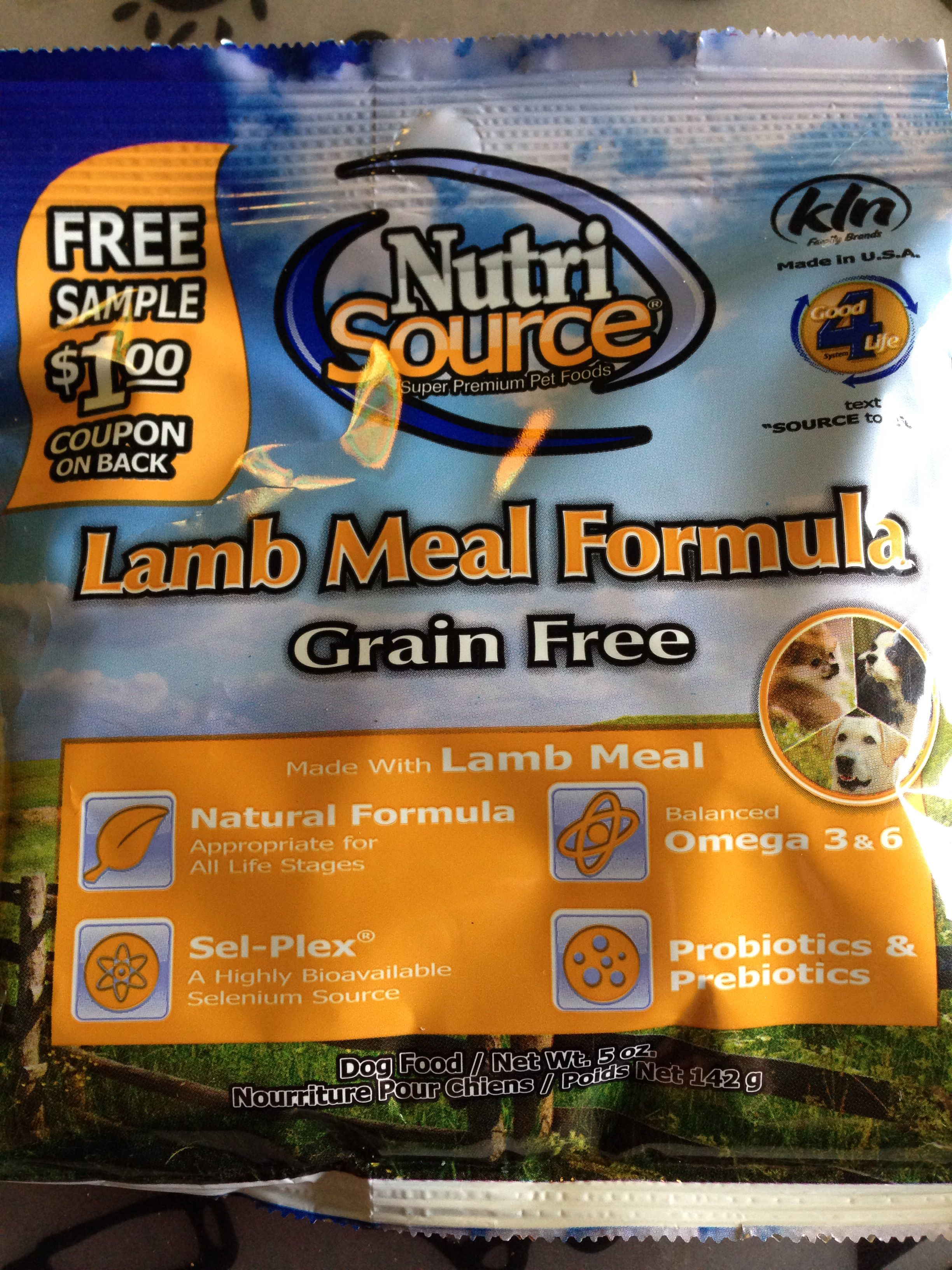 Nutri source lamb meal formula grain free dog food