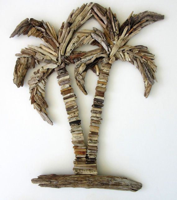Driftwood Double Palm Tree Coastal Wall Decor by BeachwoodDreams