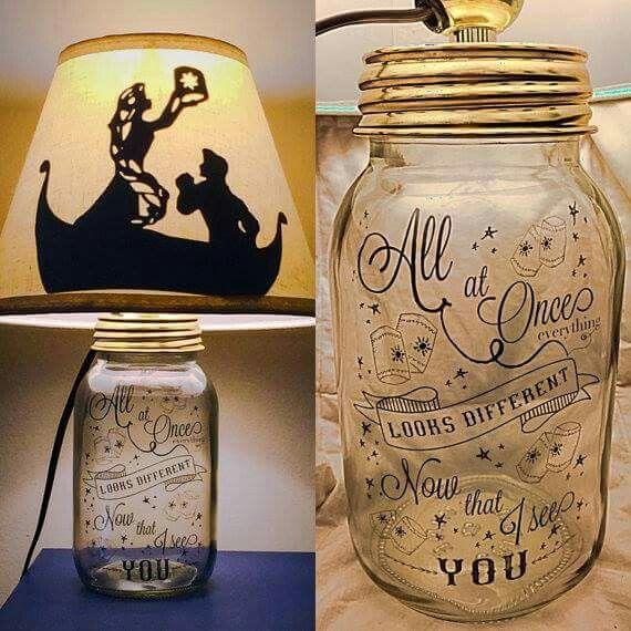 Diy Mason Jar Lamps Disney Mason Jar Lamp Mason Jar Diy Disney Lamp