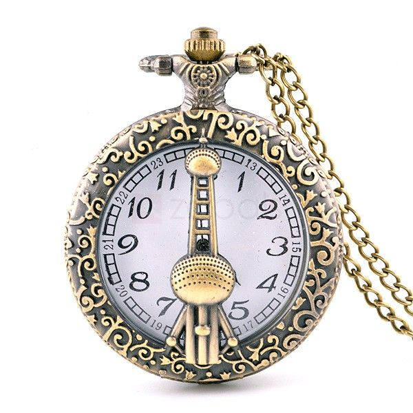 Vintage Pocket Watch Hollow Cover with Oriental Pearl Tower Pattern Cover Metal Dial Classic Design with Metal Chain Quartz Watch DF081. intage Style Classic appearance, specially designed for men and women.  Full Metal Case With the outstanding design of metal case, the pocket watch can be fully protected from scratches or shocks.  Retro Patterns All retro style designed details, bring you back to the old times.  Big Dial With the big round dial, it is much easier for you to get the t