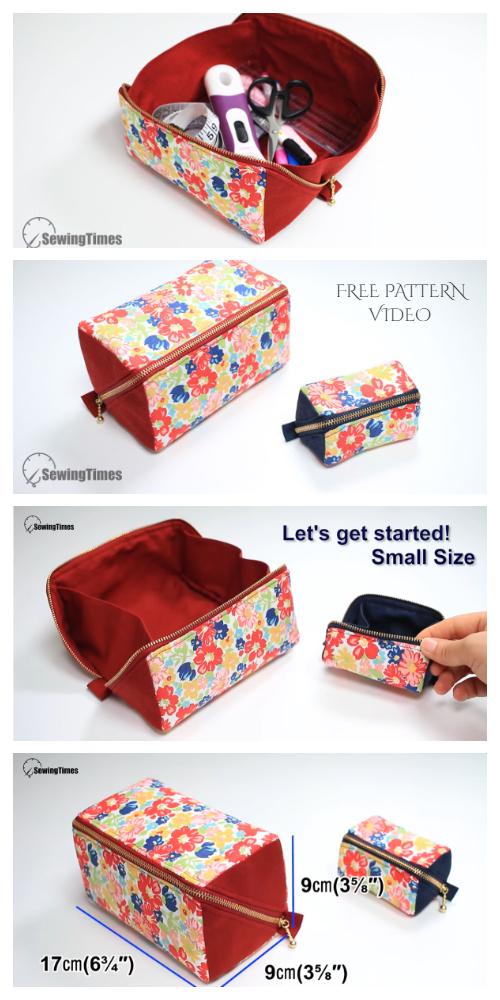 Pochette à fermeture éclair en tissu bricolage Patrons de couture gratuits + vidéo | Tissu Art DIY   – sewing and knitting ideas