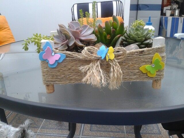 Caja de fresas trnsformada en maceta para kactus mis - Como decorar cajas de madera para centros de mesa ...