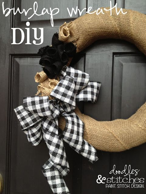 Black and White Burlap Wreath