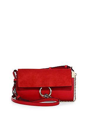 Chloé Mini Faye Leather & Suede Shoulder Bag