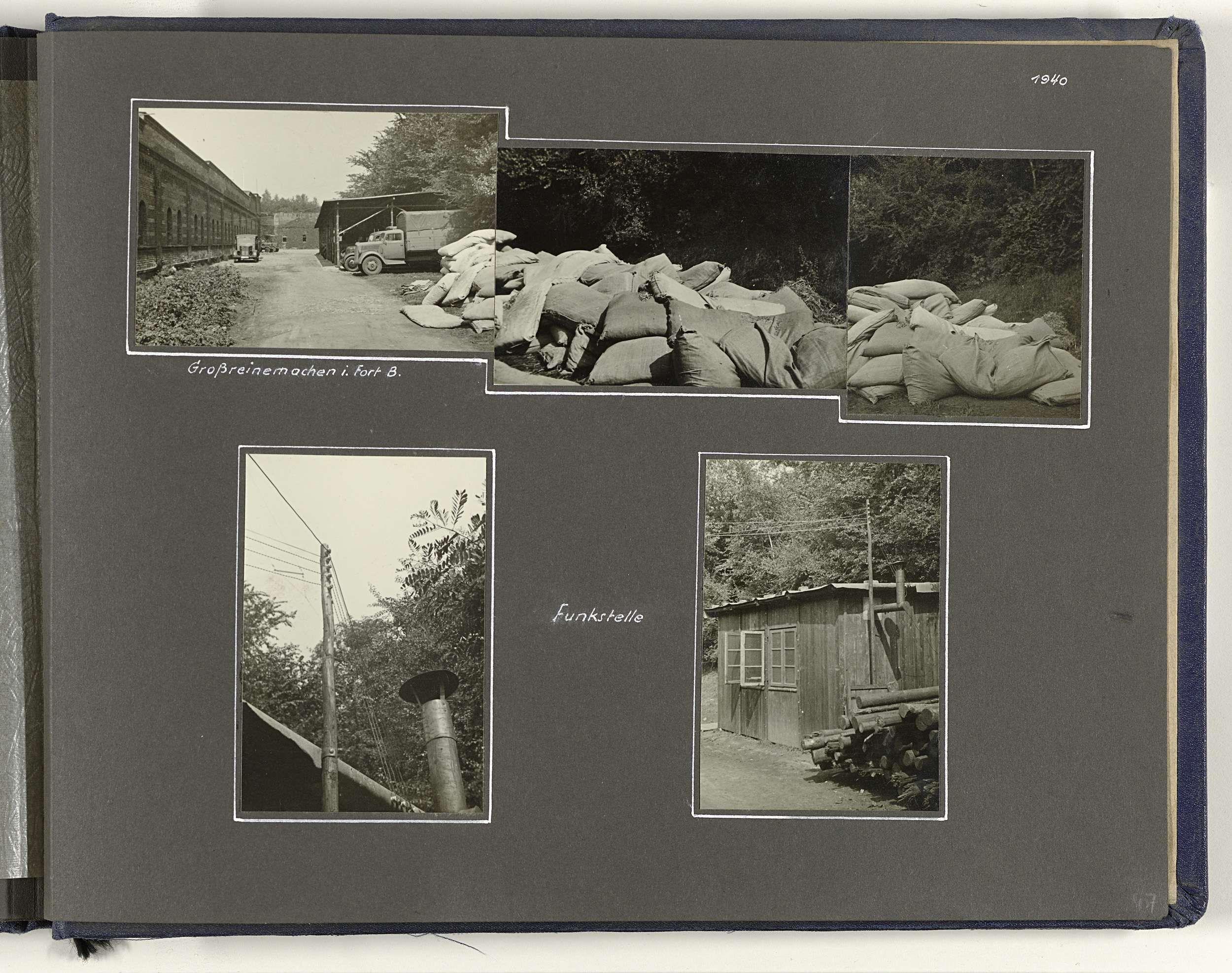 Anonymous   Fort Bocklemünd, Anonymous, 1940   Albumblad met twee foto's en een collage bestaande uit drie foto's van Fort Bocklemünd (Keulen) in 1940. De collage geeft een beeld van een grote schoonmaak in het fort, de andere twee van een zendinstallatie (Funkstelle). Onderdeel van een Duits militair album Tweede Wereldoorlog 1939-1940.