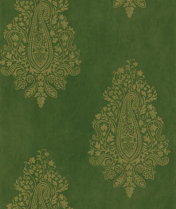 Mehndi green paisley wallpaper