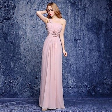 Floor-length+Chiffon+Bridesmaid+Dress+-+A-line+One+Shoulder+with+Flower(s)+–+GBP+£+65.59