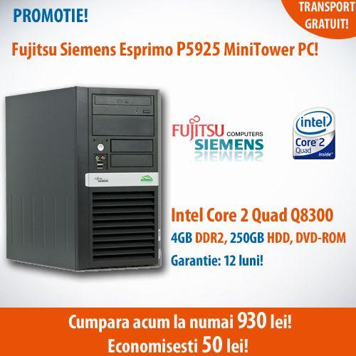 Calculatorul second hand Fujitsu Siemens P5925 MiniTower, cu procesor Intel Core 2 Quad Q8300, memorie 4GB DDR2 si hard disk SATA de 250GB, la numai 930 de lei!  Oferta in limita stocului disponibil!