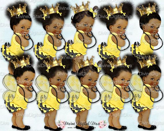 Afro Baby Bee Princess Bee Baby Queen Bee Baby Cake PRE-CUT Bumble Bee Wings Queen Bee Princess Baby EDIBLE Cake Topper Image Gold