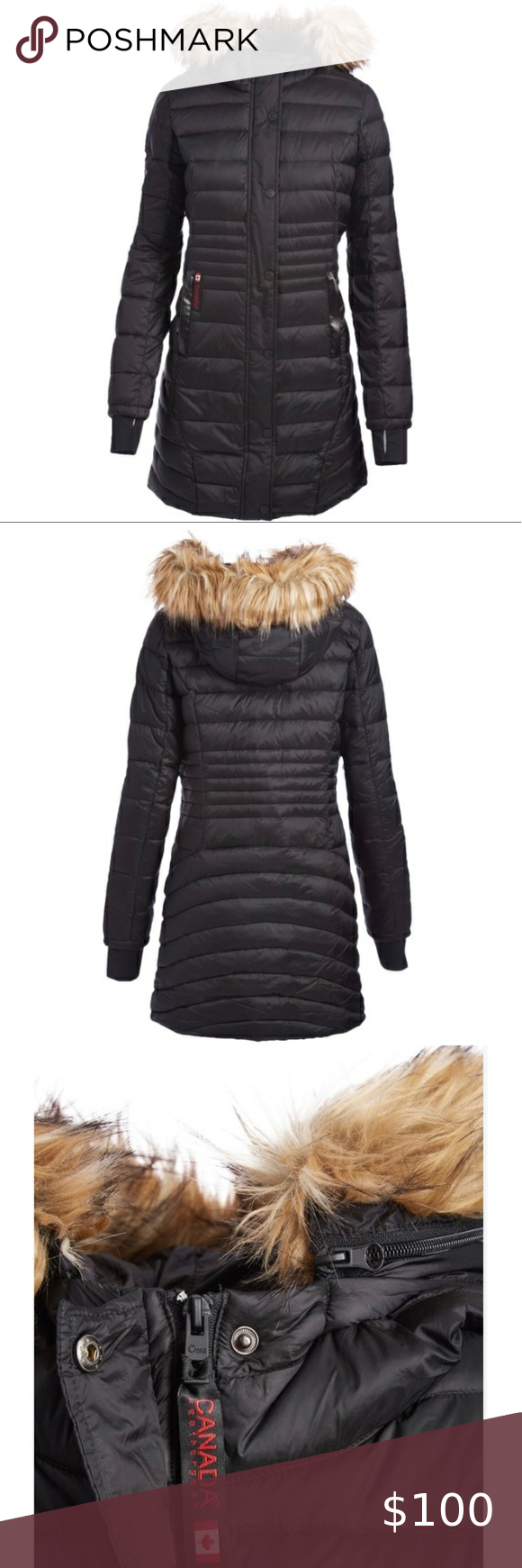 Sold Canada Weather Gear Black Hooded Puffer Coat Puffer Coat Long Puffer Coat Puffer [ 1740 x 580 Pixel ]