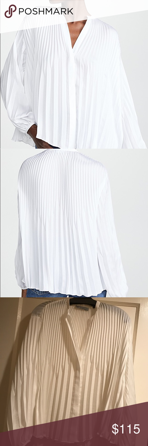 Vince White Chevron Pleated Blouse Pleated Blouse Accordion Skirt Pleated [ 1740 x 580 Pixel ]