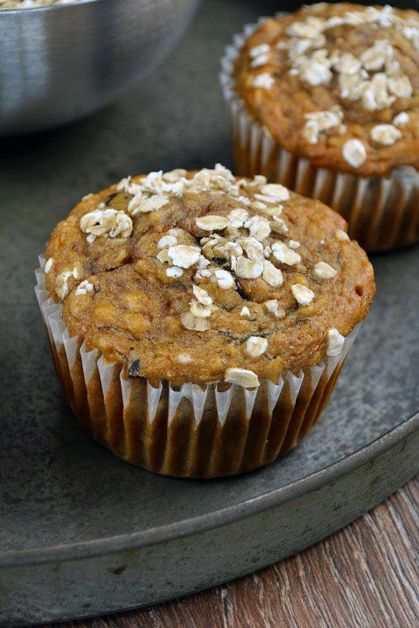 Rezept für Frühstücksmuffins - mit Banane, Apfel und Cranberries