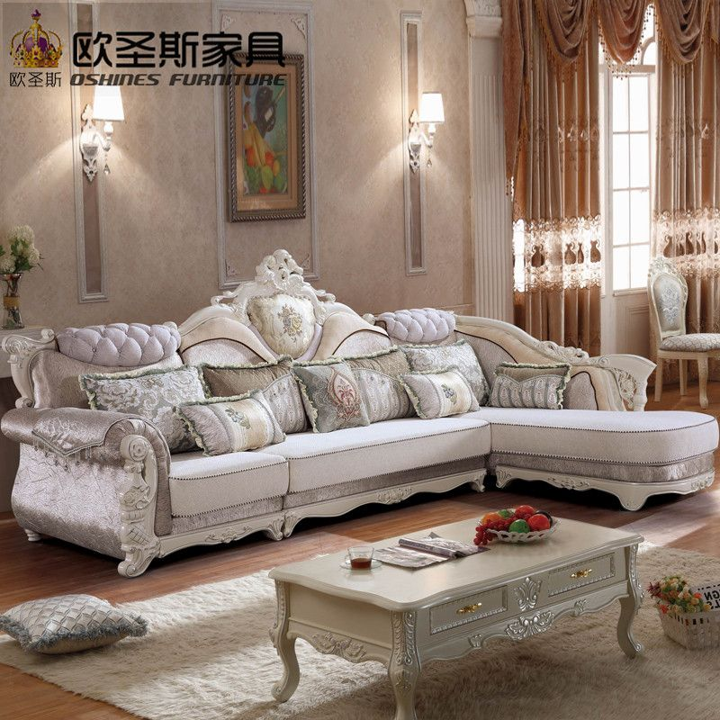 Luxury L Shaped Sectional Living Room Furniutre Antique Europe Design Classical Corner Wooden Carving Fabric So Sofa Design Living Room Sets Furniture Sofa Set