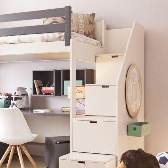 Asoral Hochbett Loft Xl Liso Mit Treppe Schreibtisch 4 Stauraum