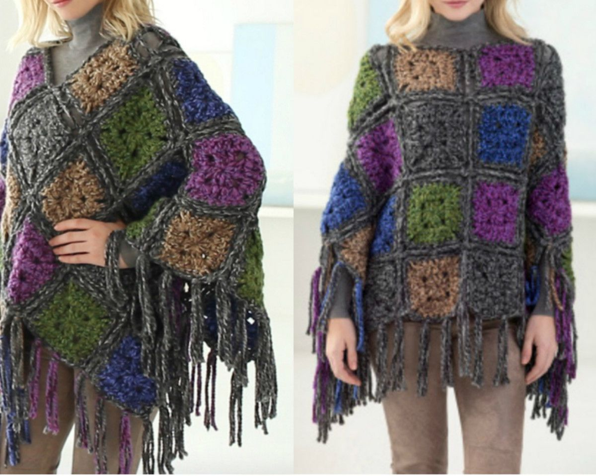 Crochet Poncho Free Pattern Best Ideas | Ponchos, Ponche y Patrón de ...
