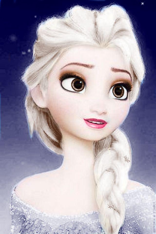 Elsa Brown Eyes Brown Hair Tint Dark Blue Dress Background