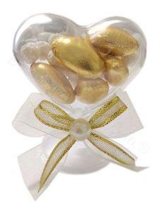 Segnaposto Nozze Oro Alzatina Cuore Perla Confezionato