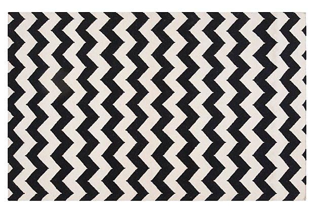 Valencia Flat-Weave Rug, Black on OneKingsLane.com