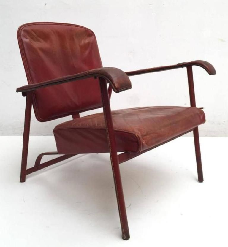 Vintage Leather Lounge Chair By Jacques Adnet Leather Lounge