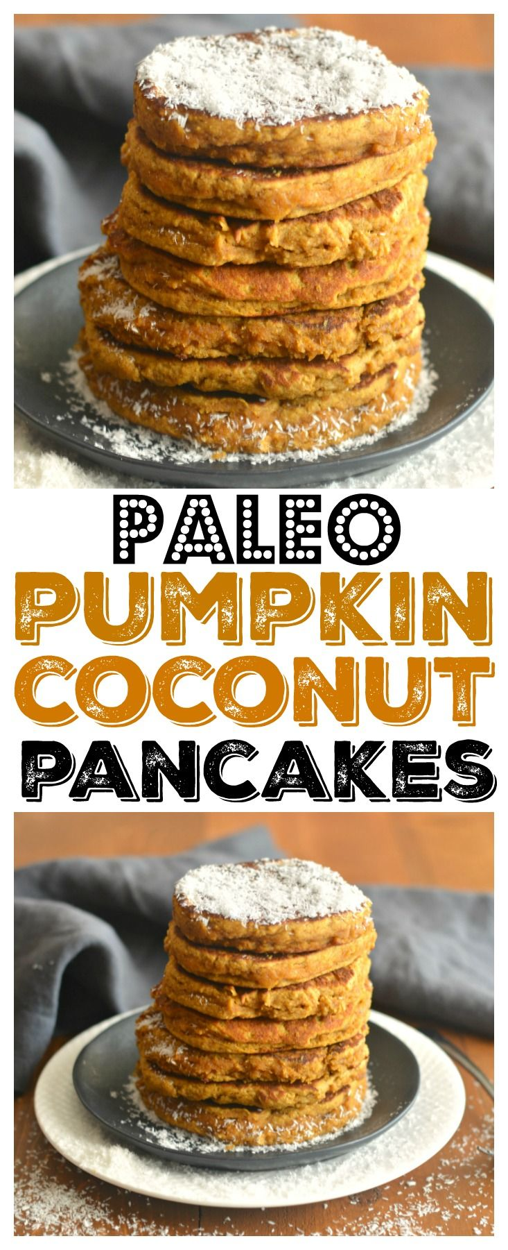 Flourless Pumpkin Coconut Pancakes made with almond butter coconut