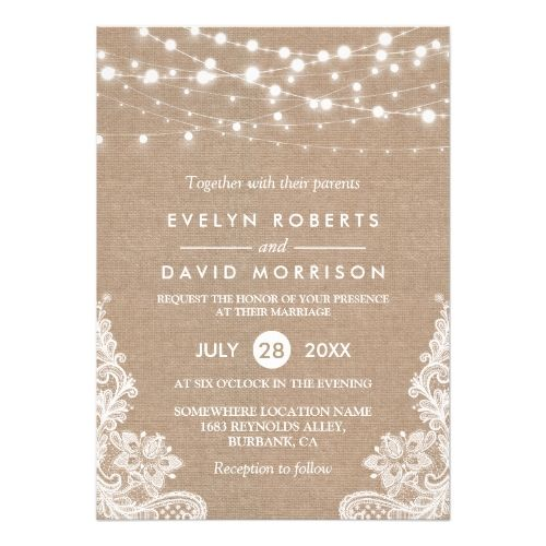 Rustic Country Burlap String Lights Lace Wedding Card Backyard