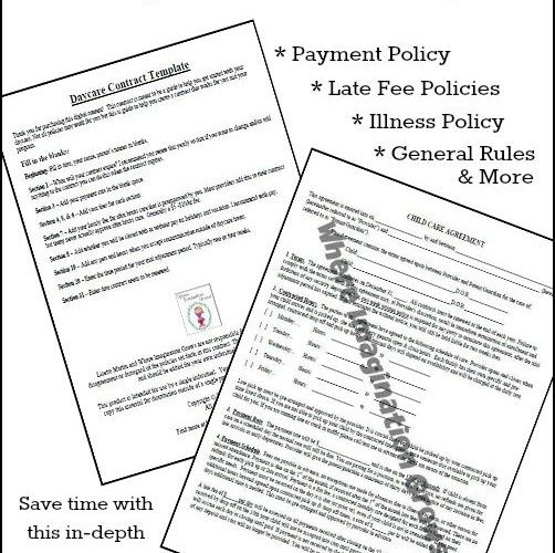 in home daycare contract example template