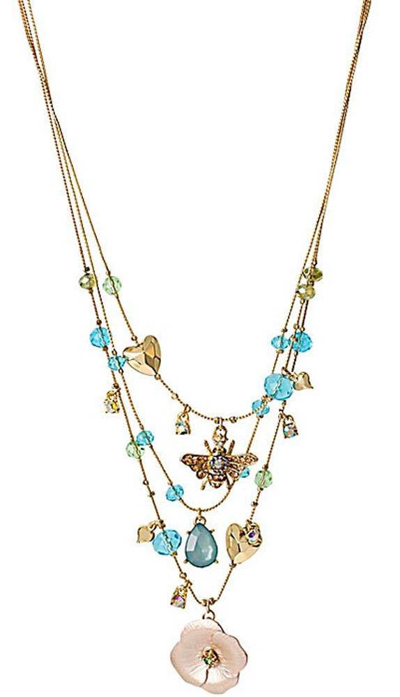 Betsey Johnson Jewelry QUEEN BEE FLOWER BEAD ILLUSION NECKLACE ...