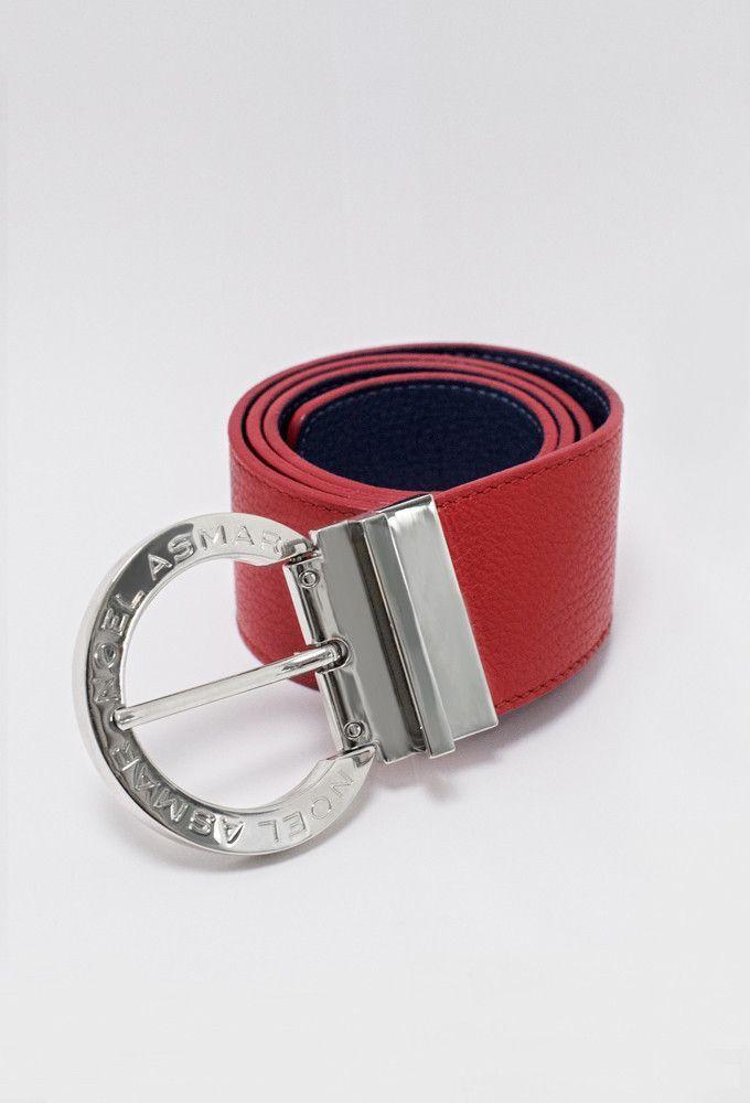Asmar Equestrian Signature Leather Reversible Belt, Red/Navy