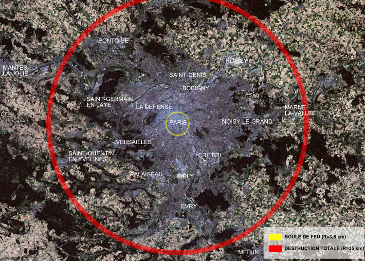 zone of total destruction of the tsar bomba as an example over a map of paris red circle total destruction radius 35 kilometres 22 mi