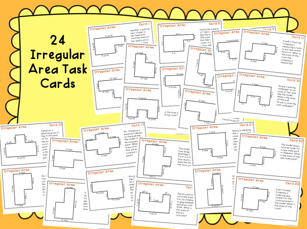 Irregular Area Task Cards And Irregular Area Quiz