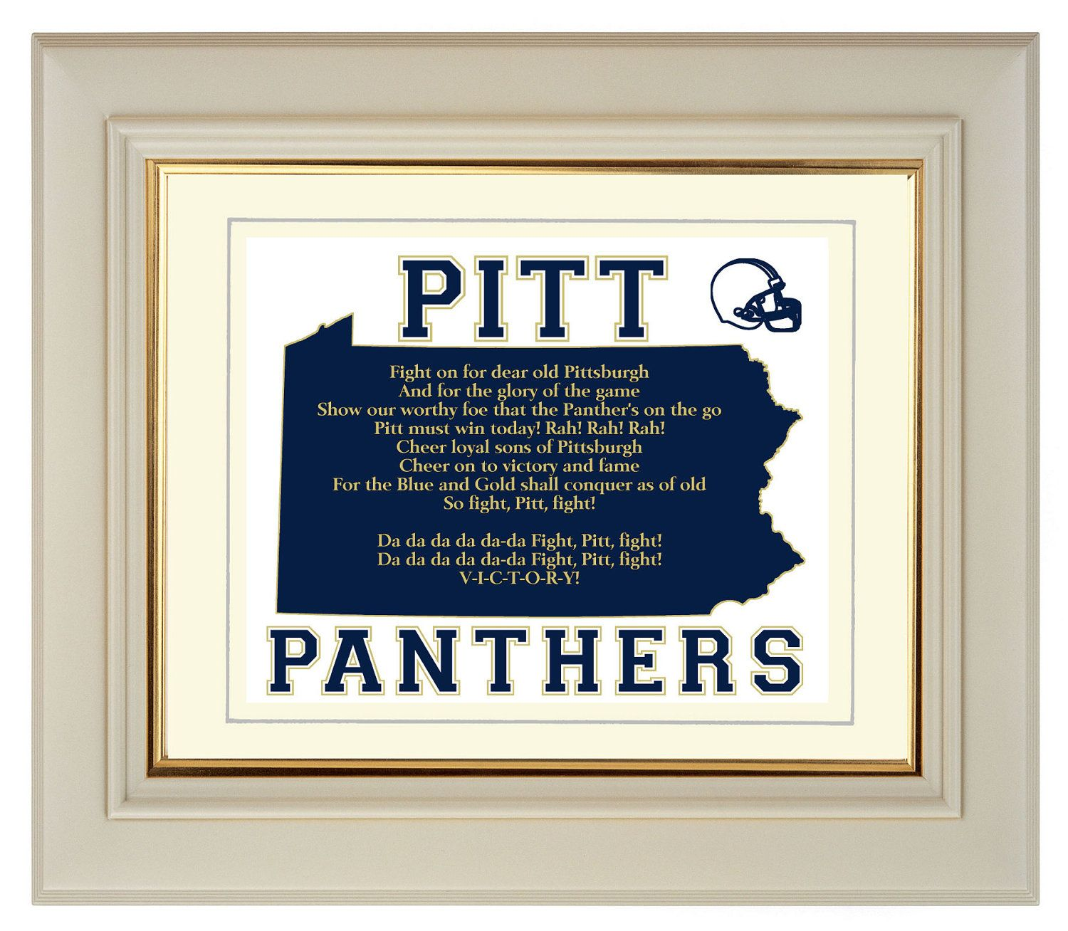 Pitt Panthers Pennsylvania State Map Sports Fight Song Art Print Gift Home Decor Wall Art 8