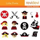 Clip art Cute Pirate (kids, skulls) red, black.  Cute clip art set for teachers and educators. Great resource for any school and classroom projects...