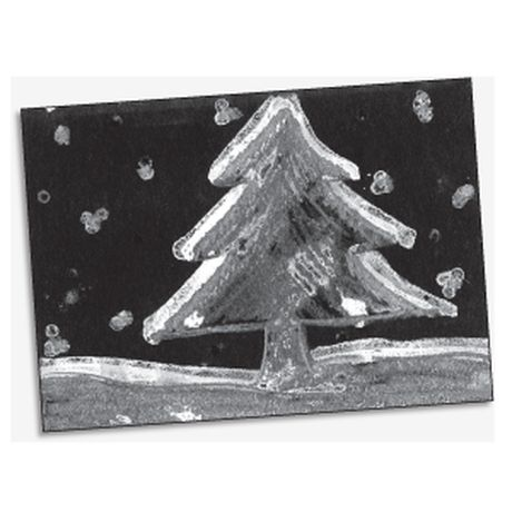 This simple art activity captures that frosty winter feeling! Use a white crayon to draw a winter scene on a sheet of black or dark blue construction paper. Then use a cotton swab or a small paintbrush to paint over the scene with a solution of epsom salt dissolved in warm water.